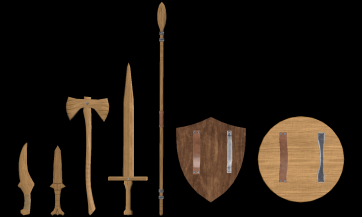 Wooden Weapons Back